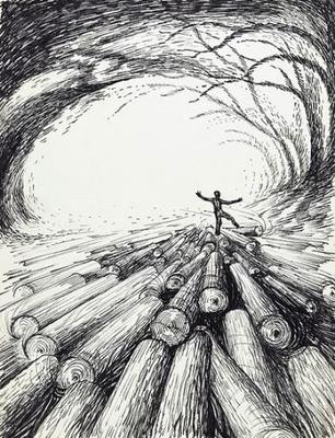 <tt>Logs rolling along a stream through a tunnel Wellcome L0045107 via Wikimedia Commons</tt>