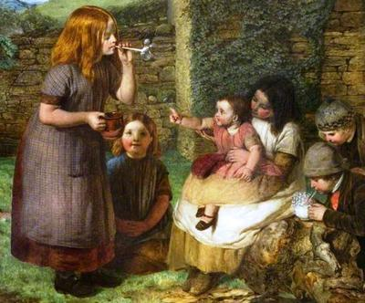 <tt>Bubbles, Cottage Scene with Children by John Dawson Watson</tt>
