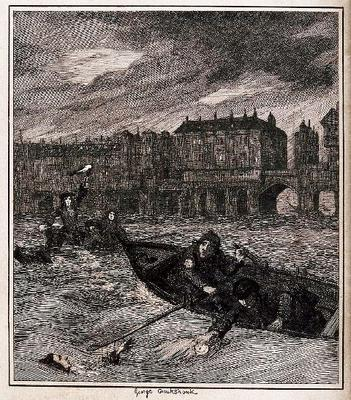 <tt>Nocturnal scene on the river Thames - men in rescue boats by Wellcome V0041552 via Wikimedia Commons</tt>