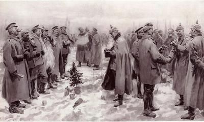 <tt>Christmas Truce 1914 by A. C. Michael - The Guardian via Wikimedia Commons</tt>