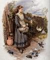 <tt>A young girl is feeding the birds at her feet Wellcome V0040791 via Wikimedia Commons</tt>